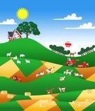 Illustratie van een landbouwgrond Stock Afbeelding