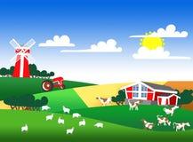 Illustratie van een landbouwgrond Stock Foto