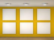 Illustratie van een leeg museum met 6 lege frames Stock Foto's