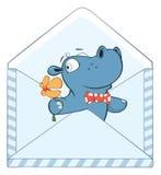 Illustratie van een Leuk Klein Hippo-Beeldverhaalkarakter Stock Afbeelding