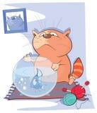 Illustratie van een Leuke Kat en een Vissenaquarium Royalty-vrije Stock Fotografie