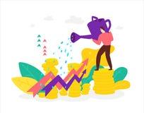 Illustratie van een makelaar van een financier met een gieter die op de groei van voorraden en voordelen let Vector Vlakke stijl  vector illustratie