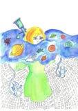 Illustratie van een meisje dat een melkweg met planeten en astronauten houdt en zich over de stadsprentbriefkaar aan de dag o bev Royalty-vrije Stock Foto's