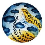 Illustratie van een meisje van wolken en regen royalty-vrije illustratie