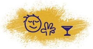 Illustratie van een mens die alcohol weigeren te drinken Stock Foto's
