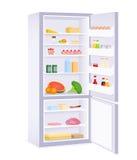 Illustratie van een moderne ijskast met voedsel Royalty-vrije Stock Afbeelding
