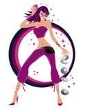 Illustratie van een modieus sexy dansend meisje Stock Afbeelding