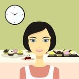 Illustratie van een mooie vrouw in de keuken Stock Foto's