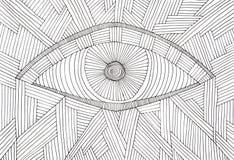 illustratie van een oog, van vele zwarte parallelle lijnen wordt gemaakt die Royalty-vrije Stock Afbeeldingen