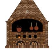 Illustratie van een oud traditioneel keuken open haard-fornuis Stock Fotografie