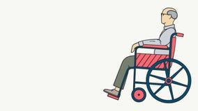 Illustratie van een oude mens die met glazen in een rolstoel zitten vector illustratie