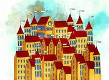 Illustratie van een oude stad van Europese architectuur stock afbeeldingen