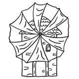 Illustratie van een oude steenmolen met een stoffenwindmolen op een witte achtergrond vector illustratie