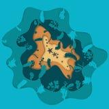 Illustratie van een overzeese ster die op de bodem van de oceaan liggen Stock Afbeeldingen