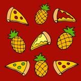 Illustratie van een patroon van een groep pizzaplakken en ananassen royalty-vrije illustratie