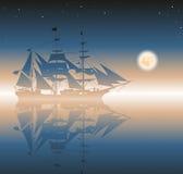 Illustratie van een piraatschip Stock Foto's