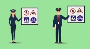 Illustratie van een politieagent en een politieagente die signage tonen Politiemensen die verkeersteken onderwijzen stock illustratie