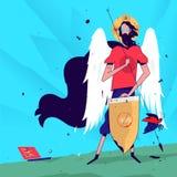 Illustratie van een programmeur in het beeld van een heilige Vector illustratie De de fouten en insecten van programmeursvangsten royalty-vrije illustratie