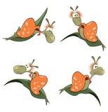 Illustratie van een reeks beeldverhaal leuke slakken vector illustratie