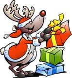 Illustratie van een Rendier met de giften van Kerstmis Stock Fotografie