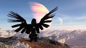 Illustratie van een rug van een vrouw die met uitgestrekte vleugels boven op een berg met een maan en planeet op de achtergrond k stock illustratie