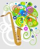 Illustratie van een saxaphone met bloemen Royalty-vrije Stock Fotografie
