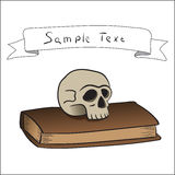 Illustratie van een schedel met een boek Royalty-vrije Stock Fotografie