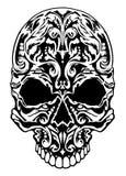 Illustratie van een schedel met patronen Grafische illustratie Stock Fotografie