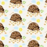 Illustratie van een schildpad op een achtergrond van gras en hemel Royalty-vrije Stock Fotografie