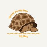 Illustratie van een schildpad op een achtergrond van gras en hemel Stock Afbeeldingen