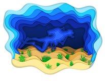 Illustratie van een scuba-duiker die de zeebedding onderzoeken Stock Foto's
