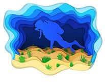 Illustratie van een scuba-duiker die de zeebedding onderzoeken Royalty-vrije Stock Foto's