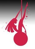 Illustratie van een silhouet sexy slingerend meisje op een bal Stock Foto's