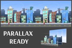 Illustratie van een stadslandschap, met gebouwen en weg, vector oneindige achtergrond met gescheiden lagen Royalty-vrije Stock Afbeeldingen