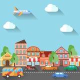 Illustratie van een stadsstraat, in vlak ontwerp wordt gemaakt dat Stock Foto