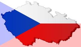 Illustratie van een Tsjechische vlag stock afbeeldingen