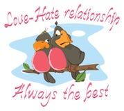 Illustratie van een Twee Liefdevogels, een Gezegde prentbriefkaar Stock Afbeelding