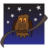 Illustratie van een uil op een tak Royalty-vrije Stock Afbeeldingen