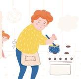 Illustratie van een vader die een maaltijd voorbereiden vector illustratie