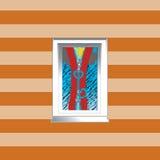 Illustratie van een venster op gestreept behangba Stock Illustratie