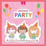 Illustratie van een Verjaardagscelebrant drie meisjes Stock Foto