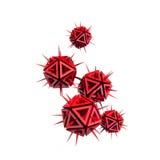 Illustratie van een virus als een paar rode scherpe voorwerpen Stock Foto's