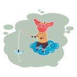 Illustratie van een visser in hemel Royalty-vrije Stock Fotografie