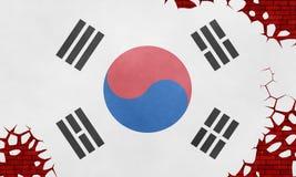 Illustratie van een vlag van Zuid-Korea, imitatie van het schilderen op de gebarsten muur vector illustratie
