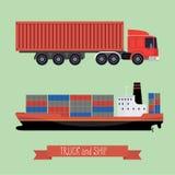 Illustratie van een vlak vrachtwagen en een schip Stock Foto's