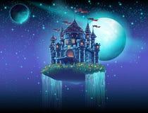 Illustratie van een vliegend kasteel in ruimte tegen een achtergrond van sterren en planeten vector illustratie