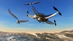 illustratie van een vliegende hommel Stock Afbeeldingen