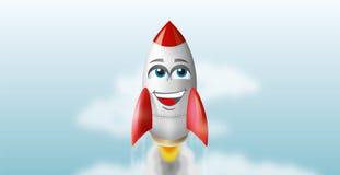 Illustratie van een vliegende raket in de hemel. EPS10 vector Royalty-vrije Stock Afbeelding