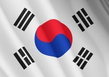 Illustratie van een vliegende vlag van Zuid-Korea vector illustratie