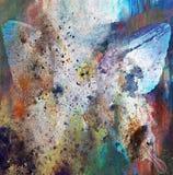 Illustratie van een vlinder, gemengd middel, kleurenachtergrond Stock Foto